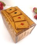 <英国ビンテージ>素晴らしい木工細工♪とても珍しいカードBOX「新品のトランプフルセット付」
