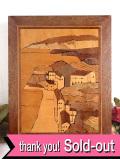 <英国ミッドセンチュリー>英国カントリーサイドの心安らぐ寄せ木細工の風景画
