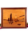 <英国ミッドセンチュリー>ヨットと灯台の海辺♪英国カントリーサイドの寄せ木細工の風景画