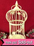 <英国ビンテージ>カントリーなワイヤーフレーム♪英国アンティークのレモンイエローのバードケージ