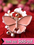 <英国コスチュームジュエリー>1960年代:ピンクと白のエナメルの蝶々♪赤い金色のゴールドプレートのリング「17号」