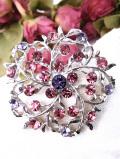 <英国ビンテージ>キラキラ輝くクリスタルガラス♪とても大きなお花のブローチ