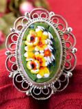 <1930年代:イタリア製>モザイクガラスのお花たち♪透かし細工も優雅なアンティークブローチ
