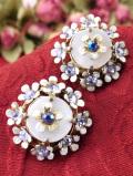 1940年代:優雅な白蝶貝♪キラキラ輝くクリスタルガラスのお花のイヤリング
