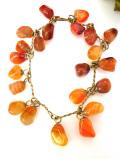<英国ビンテージ>1960年代:オレンジがかったピンク色のメノウたち♪幻想的な輝きが美しいブレスレッド