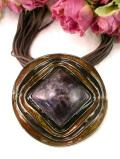 <英国コスチュームジュエリー>茶色のコラボレーションが美しい豪華なデザインのネックレス