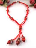 <英国コスチュームジェリー>1960年代:赤いヨーロピアンガラスが華やかな光のロングネックレス