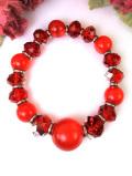 1960年代:赤色のヨーロピアンガラスとクリスタルの輝きが華やかなブレスレッド
