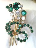 <英国コスチュームジュエリー>1950年代:強い輝きのクリスタルが美しい優雅なお花のブーケのブローチ