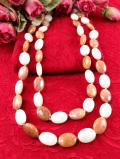 <英国ミッドセンチュリー>全長116cm♪白とオレンジベージュのラインストーンが美しい豪華なデザインのネックレス
