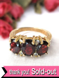 <英国ミッドセンチュリー>輝くアメジストとゴールドプレートの金細工が素晴らしいアートフルな指輪「12号」