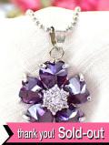 <英国ミッドセンチュリー>キラキラ輝く紫色のお花♪キュービックジルコニアとシルバープレートのロマンチックなネックレス「お箱付」
