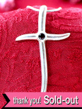 <英国スターリングシルバー>1940年代:赤い輝きのガーネット♪銀細工が美しいクロスネックレス