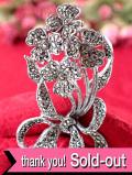 <英国ミッドセンチュリー>:キラキラ輝くマーカザイト♪おリボンが可愛い一輪のお花のブローチ