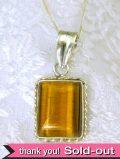 <英国スターリングシルバー>1950年代:純銀とタイガーズアイの大きなネックレス