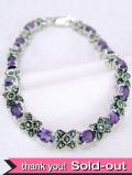 <英国スターリングシルバー>1910年代:華やかな純銀と紫色のアメジストのブレスレッド