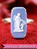 <英国スターリングシルバー>ウエッジウッド:ブルージャスパーの女神様のリング「11号:お箱付」