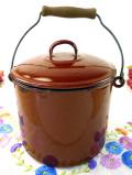 1920年代:レア♪アンバー色がきれいなふた付持ち手付の大きなホーローのお鍋