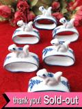 1940年代:陶器細工の6匹のリス君♪とても愛らしくて貴重なナプキンリング「6個セット」
