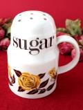 <英国ミッドセンチュリー>マスタード色のバラのお花♪陶器製の大きなシュガーボトル