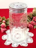 <英国ミッドセンチュリー>銀色のふた付のアンティークガラスの大きな調味料ボトル