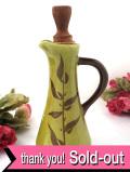 1940年代:きれいなモスグリーンの陶器♪素朴で優しいお花たちのオイルポット