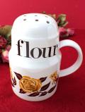 <英国ミッドセンチュリー>マスタード色の大輪のバラ♪英国の優雅な陶器の大きな小麦粉シフター