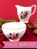 <DUCHESS>大輪のバラと水色の忘れな草♪金彩も優雅な大きなミルクジャグ&シュガーボウル「2点セット」
