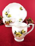 <クィーンアン>黄色いマグノリアのお花たち♪大きなミルクジャグ&シュガーボウル&サンドイッチプレート「3点セット」