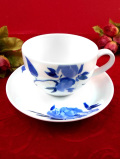 <john lewis:未使用品>青いバラのお花たち♪ブルー&ホワイトが美しいカップ&ソーサー