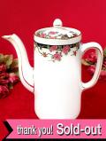 <英国ミッドセンチュリー>英国のピンクのバラとお花たち♪大きなたっぷりコーヒーポット