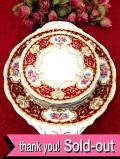 <クィーンアン>バラのお花たちのブーケ♪金彩も豪華なサンドイッチプレート&ケーキ皿「6枚セット」