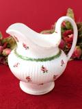 <英国ミッドセンチュリー>愛らしいピンク色のバラ♪優しいフォルムのミルクジャグ