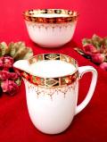 <GLADSTONE CHINA>1940年代:明るいバラのお花たち♪黒と赤と金彩も華やかな大きなミルクジャグ&シュガーボウル「2個セット」