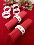 <英国ミッドセンチュリー>英国カントリーサイドのお花たち♪しっかり大きな陶器のナプキンリング「6個セット」