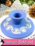 <ウエッジウッド>優雅なブルージャスパー♪植物模様のレリーフが素敵なキャンドルスタンド「キャンドルプレゼント付」