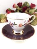 <Elizabethan>英国カントリー再度の優雅なお花たち♪たっぷりとした金彩も美しいカップ&ソーサー