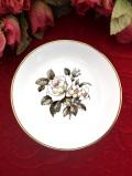 <ROYAL WORCESTER>白いバラと水仙♪金彩も美しいスモールプレート「スタンド付」