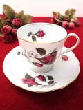 <ポーランド製>真っ赤なバラのつぼみたち♪金彩も輝くカップ&ソーサー