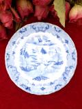 1910年代:エドワーディアン時代♪東洋の憧れが優雅なオリエンタルなブルー&ホワイトの可愛い絵皿「スタンド付」