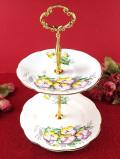 <英国ミッドセンチュリー>英国カントリーサイドのお花たち♪金彩も美しい2段ディッシュ