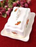 <ルーマニア製>1930年代:オレンジ色のお花たちが咲いた大きなチーズディッシュ:通常価格6380円→