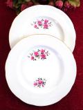 <英国ビンテージ>愛らしいバラのお花たち♪金彩もきれいなブレッドプレート「2枚セット」