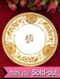 <MEITO:名陶>1930年代:豪華な金色のお花たち♪とても貴重な金盛りのプレート「スタンド&ソーサー付」:通常価格2650円→