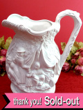 <ポートメリオン>立体的な森の家族たち♪とても大きな白地に白の陶器細工のウォータージャグ:通常価格9880円→