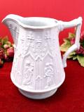 <ポートメリオン>8人の聖者たち♪とても大きな白地に白の陶器細工のウォータージャグ