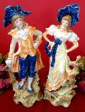 1930年代:優雅なお二人♪ヴィクトリアンレディと英国紳士の金彩も美しく輝く大きなフィギュア「2個セット」