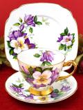 <WINDSOR>1950年代:紫と白のクレマチス♪たっぷりとした金彩も輝く豪華すぎるトリオ