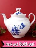 1940年代:ヴィクトリアンスタイル♪美しい英国ブルー&ホワイトの貴重なティーポット:通常価格9480円→