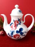 <ドイツ製:Seltmann Weiden>ドイツのピンクのバラと青い葉たち♪ぽったりとぶ厚い陶器のティーポット
